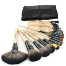 Set of 24 Beauty Tools Cosmetic Brush Set Fiber Hair Makeup with Case BURLYWOOD