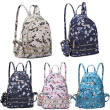 KONO Backpack Women Flower Bird Small School Bag