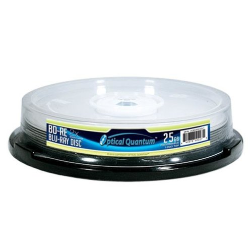 Optical Quantum OQBDRE02LT-10 10 Pack 2X 25GB BD-RE Blu-ray Blank Disc Logo Top