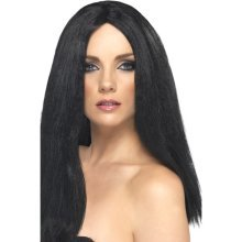 Smiffy's Star Style Wig, 44cm - Black -  wig black style star long ladies fancy dress straight smiffys costume witch halloween
