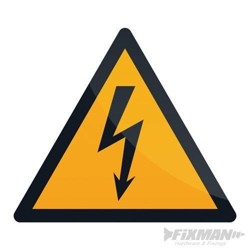 Fixman Electricity Warning Sign 100 x 100mm Self-adhesive - Warning Electricity -  warning electricity 100 x selfadhesive sign 100mm fixman 346548