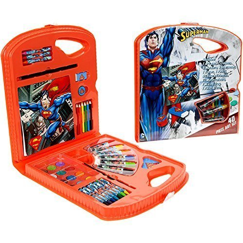 Dc Superman 40pc Art Set Case Colour Paint Pencils Crayons Book Official Gift - -  superman art set dc comics 40piece children kids theme craft
