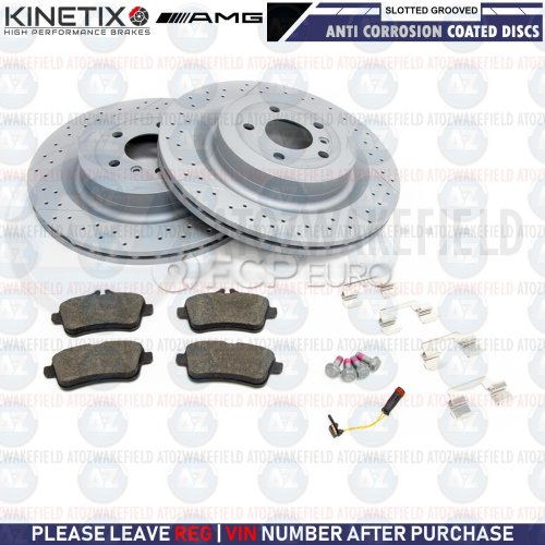 FOR MERCEDES BENZ GL63 AMG REAR SLOTTED & GROOVED BRAKE DISCS PADS WIRE 345mm