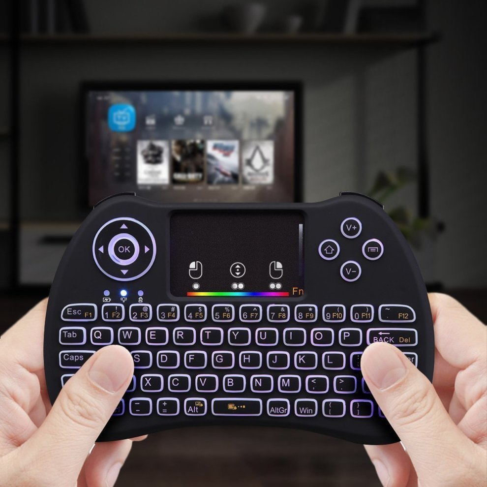 Meerveil H9 2 4GHz Colorful RGB Backlit Mini Wireless Keyboard with Mouse  Touchpad Rechargeable Combos for Android TV Box, Kodi,HTPC, IPTV, PC, PS3