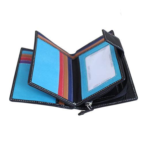 Ladies Nappa Leather RFID Blocking Multicoloured Purse Wallet