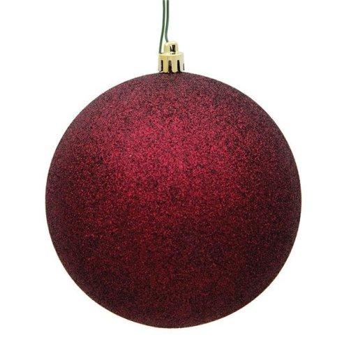 Vickerman N591065DG 4 in. Burgundy Glitter Christmas Ornament Ball - 6 per Bag