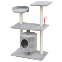 vidaXL Cat Tree Scratching Post 94.5 cm 1 House Grey