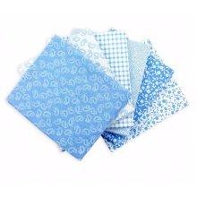 Fat Quarter Bundle - 100% Cotton - Classic Blue - Pack of 6