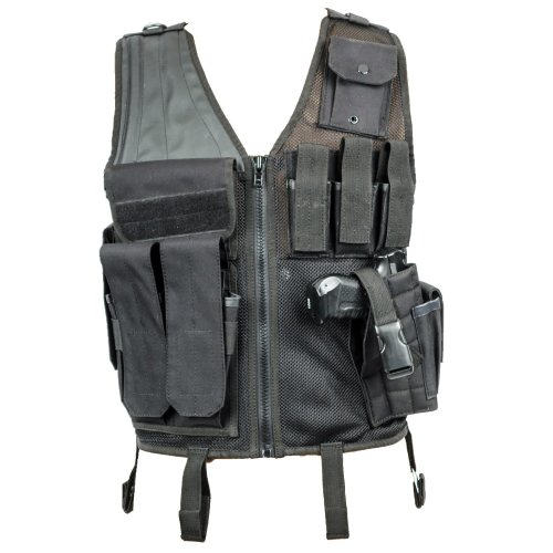 Tactical Crossdraw Holster Vest -Black-Single Size