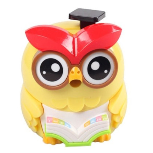 Lovely Owl Manual Pencil Sharpener For Classroom 8.7x12.1x9.9CM Yellow