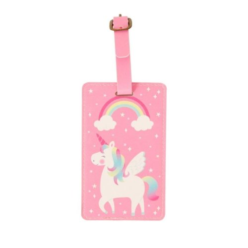 Pink Rainbow Unicorn Luggage Tag Suitcase Travel Accessory Summer Holiday