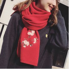 Solid Chinese Style Knit Plum Blossom Scarves
