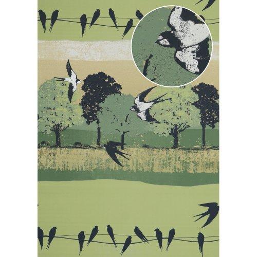Atlas SIG-583-5 Birds wallpaper metallic highlights pale-green grey 5.33 sqm