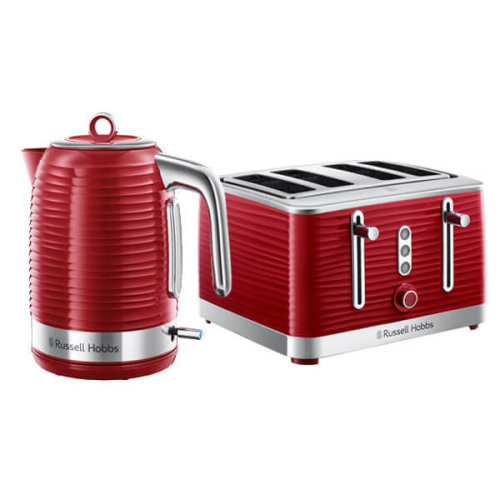 Russell Hobbs Inspire Kettle & 4 Slice Toaster Set Red