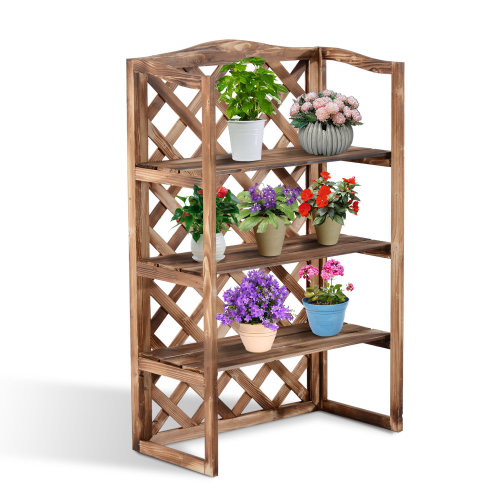 Outsunny 3-Tier Wooden Flower Stands Plant Shelf Display Pots Storage Rack Outdoor Indoor Holder 75x38x120 cm