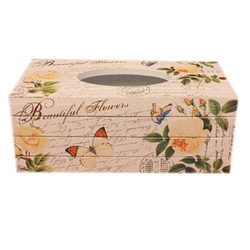 Country Style Paper Tissue Holder Wooden Tissue Box Facial Tissues, Yellow Rose