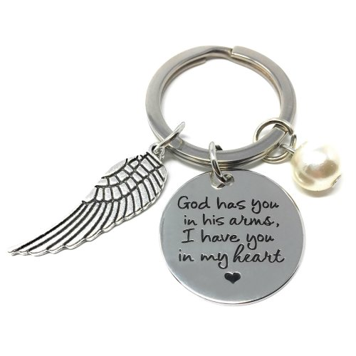 Silver-Tone 'God Has You In His Arms, I Have You In My Heart' Engraved Pendant Keyring 2.2cm Diameter