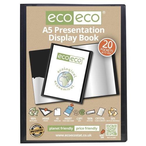 12 x A5 Recycled 20 Pocket(40 Views) Presentation Display Book - Black