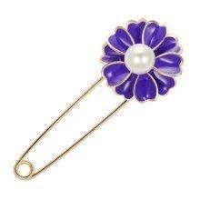 Rhinestone Safety Pins Brooch Pin - Purple Flower