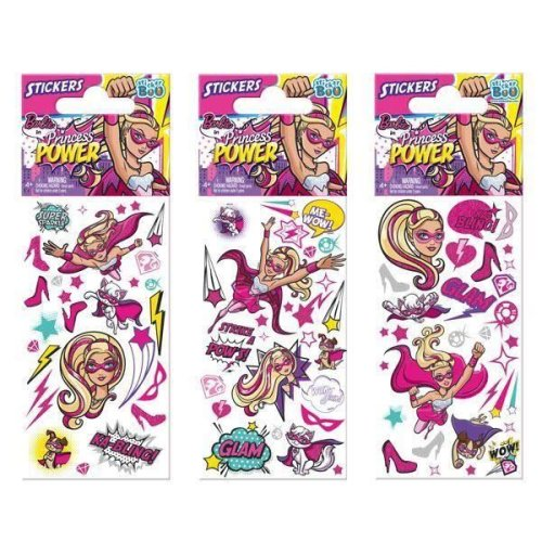 5 x Quality Sticker Sheets | BARBIE PRINCESS POWER | Party Bags & Decoration