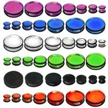 Solid Acrylic See Through with 2 Black O Rings Ear Tunnel Saddle Plug Piercing Finest Quality Materials