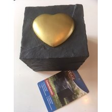 Memorial Stone - Grey Cube With Gold Heart Design - Trixie Dog New -  trixie memorial stone cube heart grey dog new
