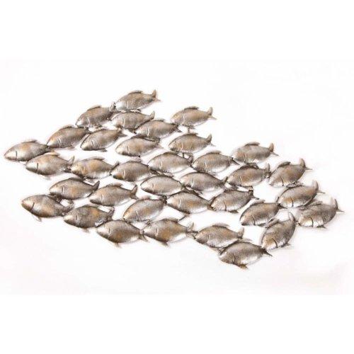 Dipamkar® Large Metal Wall Art Garden Wall Art A Shoal of Fish Sculpture Home Garden Decoration W90 x H50cm
