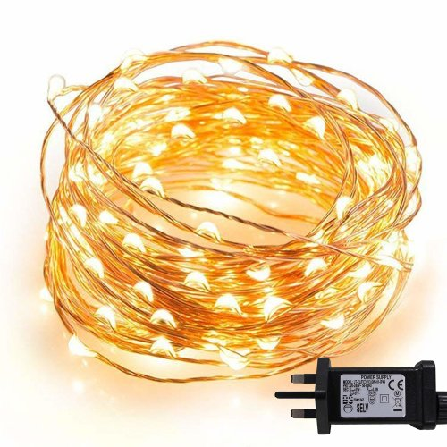 Micro Fairy Lights 100 Led 10m Warm White Indoor Christmas Festive Wedding Bedroom Novelty Decorations Tree String Mains Ed 32ft On