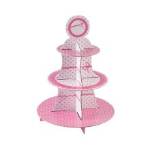 Dots Pink Cake Stand 3 Tiers Round