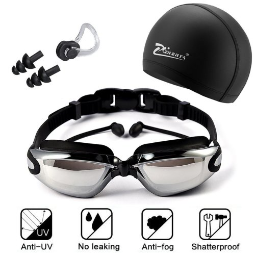 New Swimming Goggles Bundle, include Adjustable Swimming Goggles with Earplug + Swim Cap + Nose Clip, UV Protection and Anti-Fog Coating Lens,...