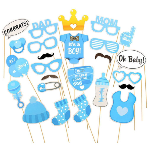TRIXES 25PC Baby Boy Shower Props Set Cards
