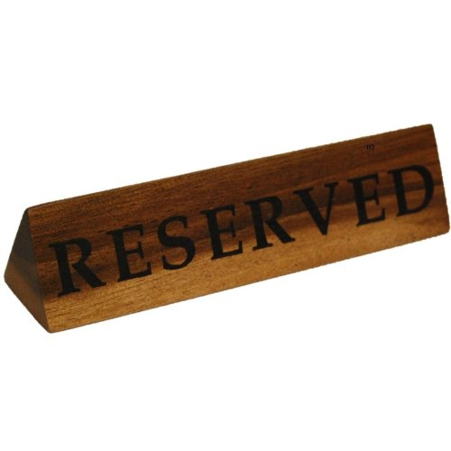 Set Of 6 Acacia Wood Reserved Signs For Restaurant Tables