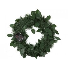 24cm Green Wreath Christmas Decoration - Classic Vintage Style Xmas -  classic vintage style christmas green wreath 24cm xmas decoration