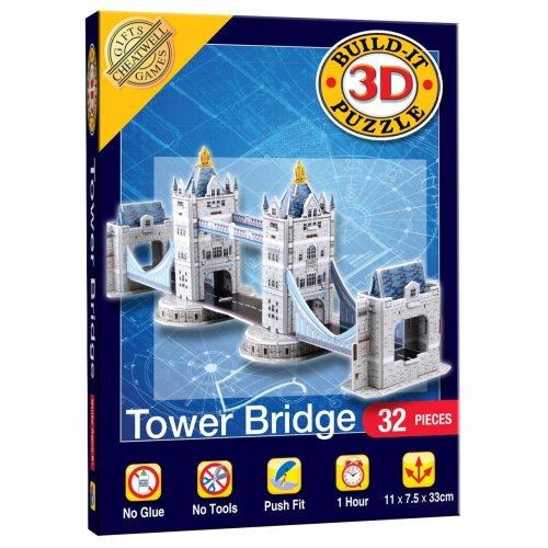 Mini Build Your Own 3d Puzzle Model Kit - Tower Bridge (32 Pieces)