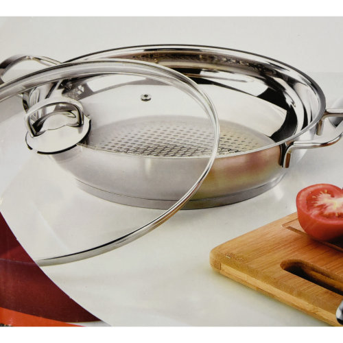 Stainless Steel Shallow Pot With Glass Lid