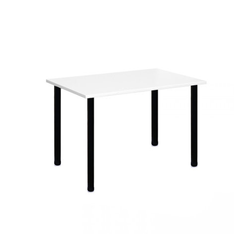 Computer Desk Office Dining Table Workstation Black Legs White Top 120x80cm