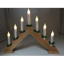 Xmas 39cm Battery Operated Indoor Wood LED Candle Arch /bridge Timer
