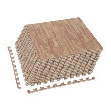 HOMCOM 30 Pcs Interlocking EVA Foam Puzzle Mat Floor Tiles Protection Gym Garage Wood Grain Effect 60 cm