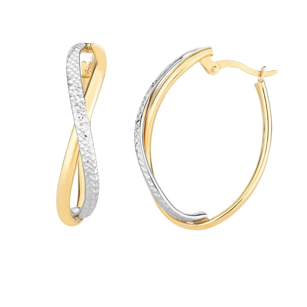 ef5bd842c 14K Yellow And White Gold Diamond Cut Two Tone Infinity Oval Hoop Earrings  on OnBuy
