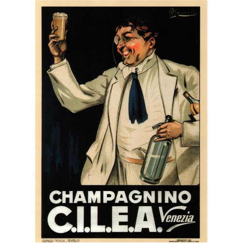 Advertising poster - Champagnino C.I.L.E.A. - High definition printing on stainless steel plate