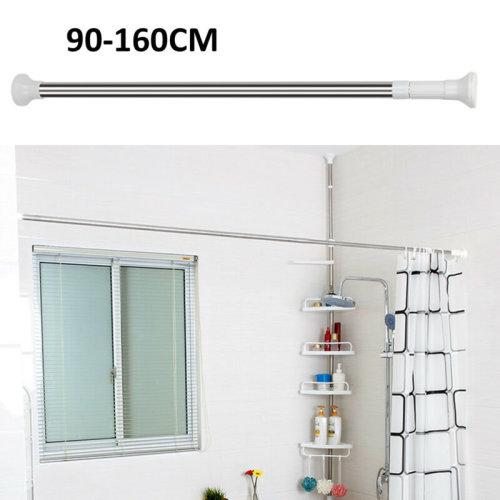 Extendable Telescopic Shower Curtain Rail Pole Bathroom Wardrobe Rod 90-160CM