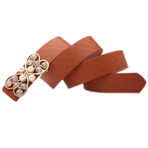 [Fashion COFFEE] Women Belt With BLING Heart Shape Buckle Dress Belt