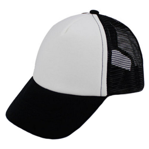 Kids Sports Hat Baseball Cap Mesh Back Cap Fitted, Black and White