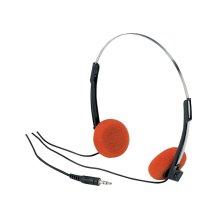Lightweight Stereo Headphones With Orange Pads