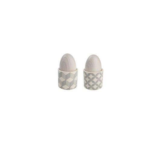 T&G City Ceramics Egg Cup Grey White in Circle Design x 4