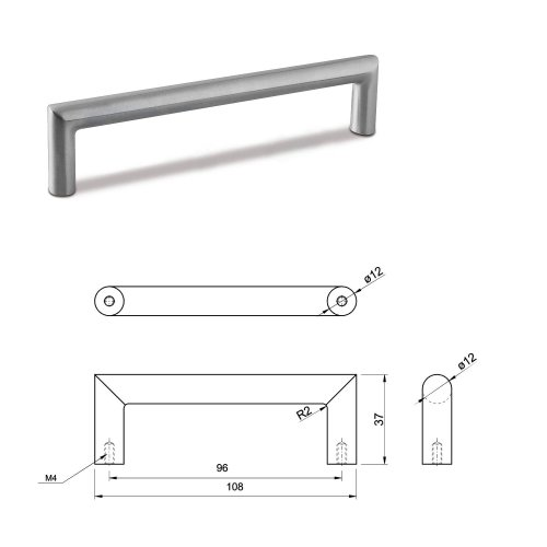 SMALL DOOR PULL HANDLE Stainless Steel C Bar Straight Bolt Fixing 96mm Pack of 5