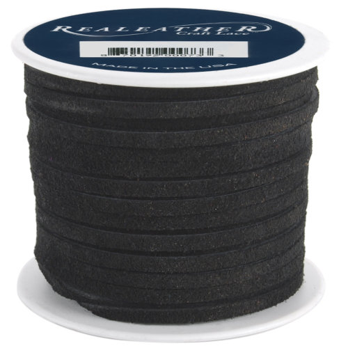 """Realeather Crafts Suede Lace .125""""X25yd Spool-Black"""