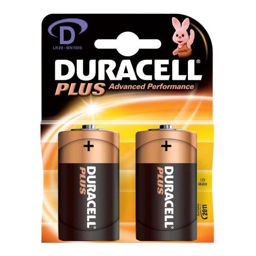 Duracell Plus D/lr20 Alkaline Batteries 2 Pack - Fresh Stock