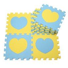 Colorful Waterproof Baby Foam Playmat Set-10pc, Blue/Yellow Hearts