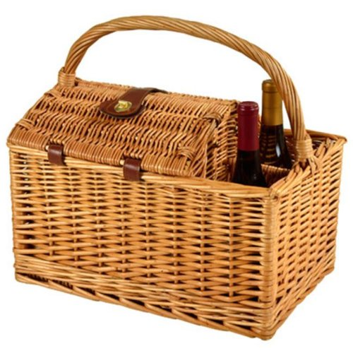 Picnic at Ascot 707-TB Vineyard Willow Picnic Basket Equipped for 2 -Trellis Blue